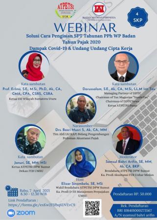 DPW Atpetsi Sumut Gelar Webinar Pengisian SPT PPh Badan 2020
