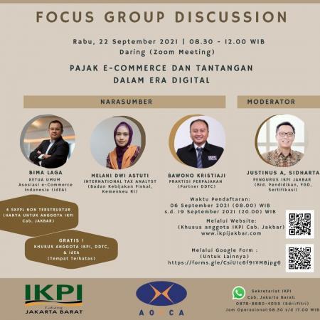 IKPI Cabang Jakarta Barat Gelar FGD Soal Pajak e-Commerce