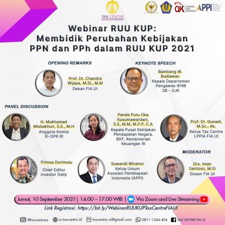 Tax Centre FIA UI Gelar Webinar Perubahan PPN dan PPh dalam RUU KUP