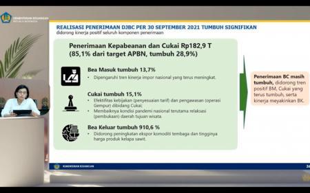 Tumbuh 28,9%, Sri Mulyani: Penerimaan Kepabeanan dan Cukai Cukup Kuat