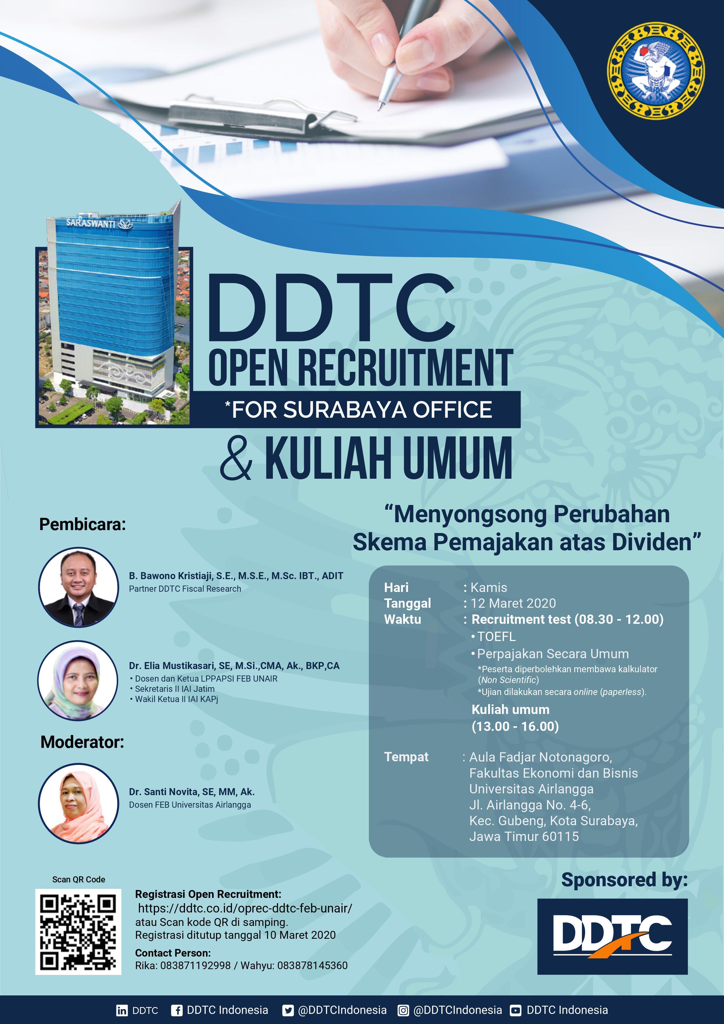 Open Recruitment DDTC & Kuliah Umum Soal Pajak Dividen di UNAIR, Mau?