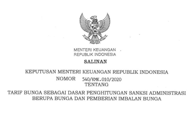 Perincian Tarif Bunga Sanksi Administrasi Pajak Periode November 2020