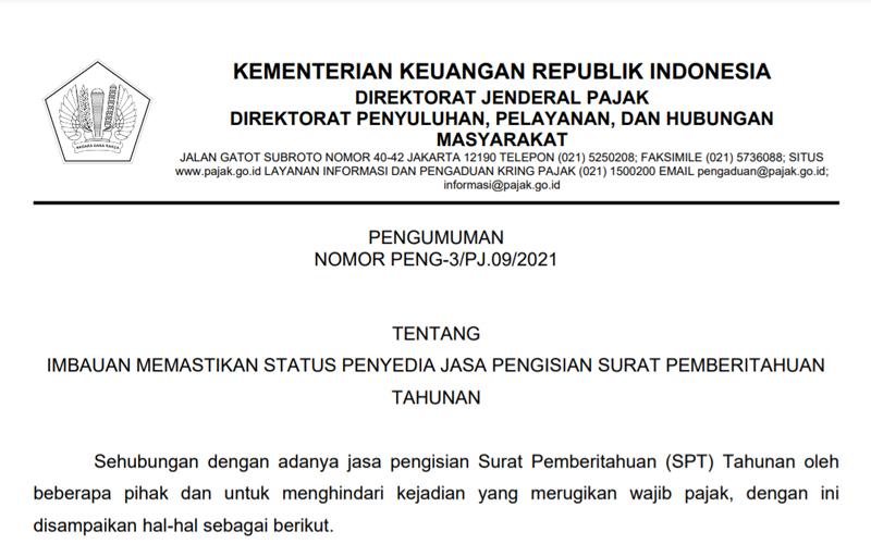 Soal Penyedia Jasa Pengisian SPT, Ini Imbauan DJP untuk Wajib Pajak