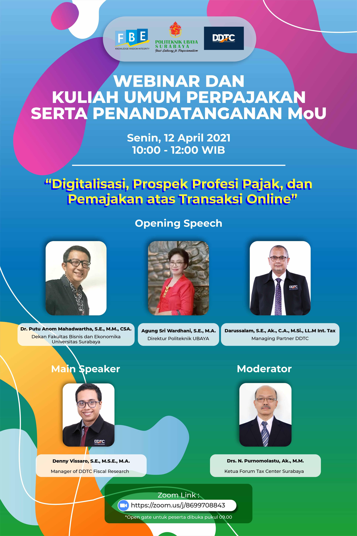 Bersama DDTC, Ubaya Gelar Webinar Soal Digitalisasi dan Pajak
