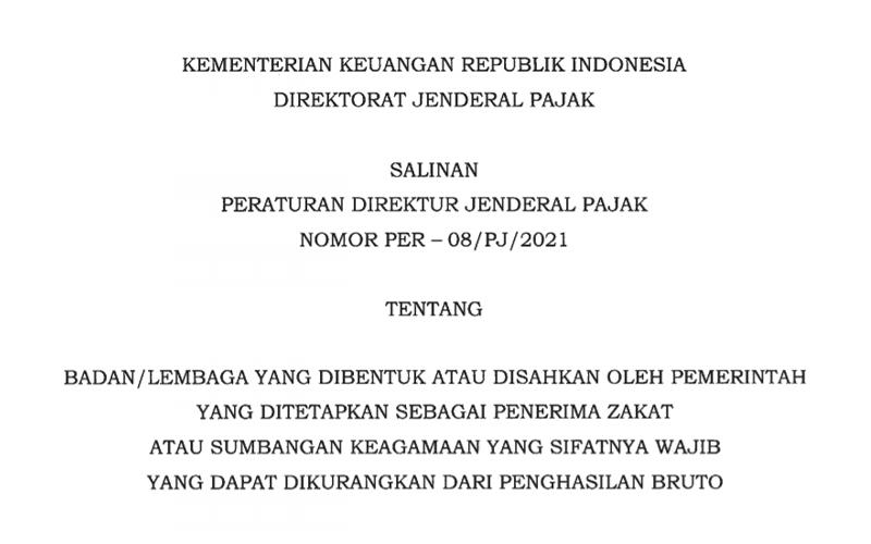 DJP Tetapkan Lembaga Penerima Zakat/Sumbangan Keagamaan Terbaru