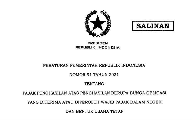 Sah! Tarif PPh Bunga Obligasi WP Dalam Negeri Turun Jadi 10%