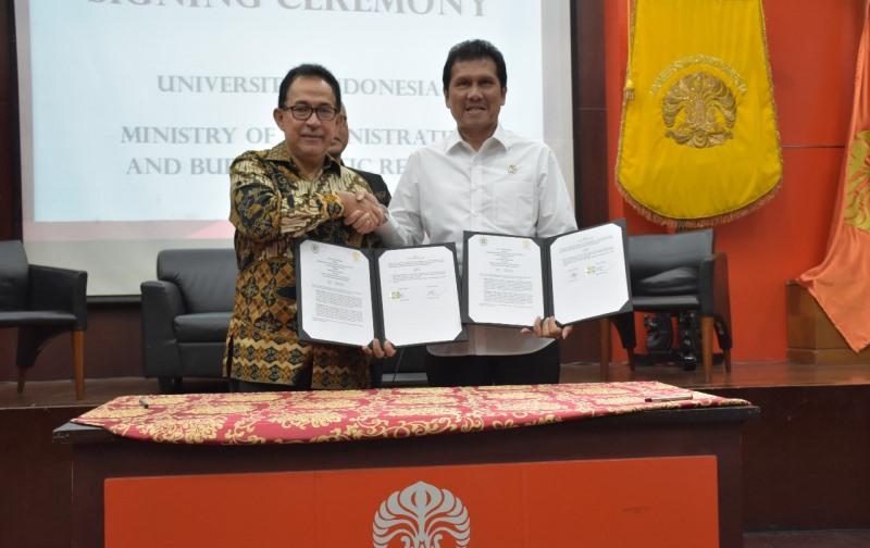 Dorong Reformasi Birokrasi, UI Teken MoU dengan Kementerian PANRB