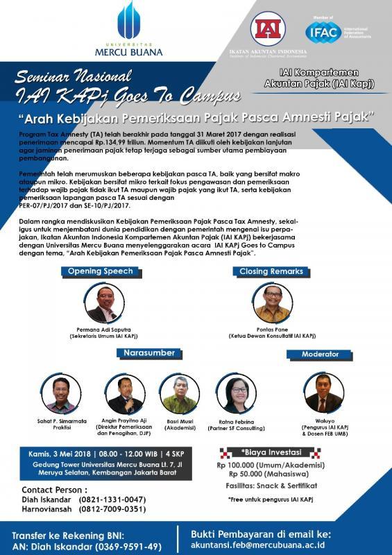 IAI KAPj Gelar Seminar Bahas Arah Kebijakan Pajak Pasca-Tax Amnesty