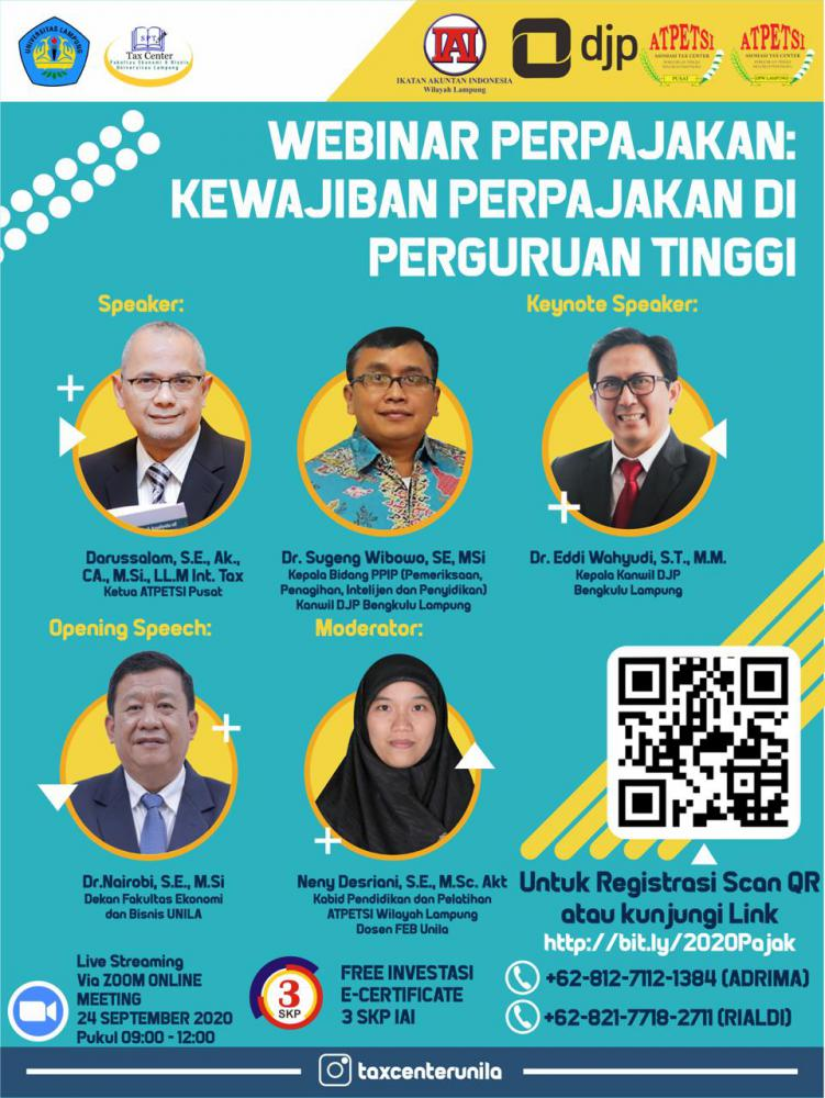 Tax Center FEB Unila Gelar Webinar Perpajakan Gratis, Berminat?