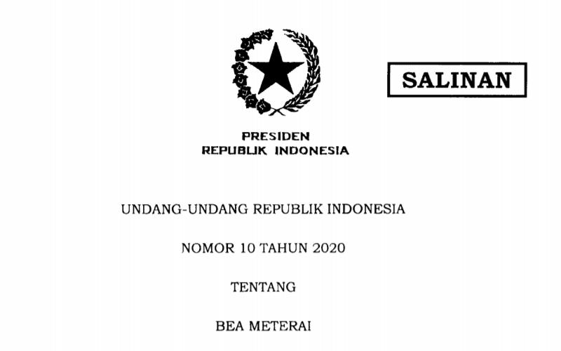 UU Bea Meterai Terbit, Berlaku Mulai 1 Januari 2021