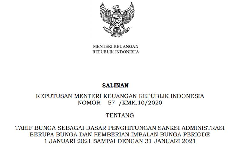 Ini Tarif Bunga Sanksi Administrasi Pajak Januari 2021