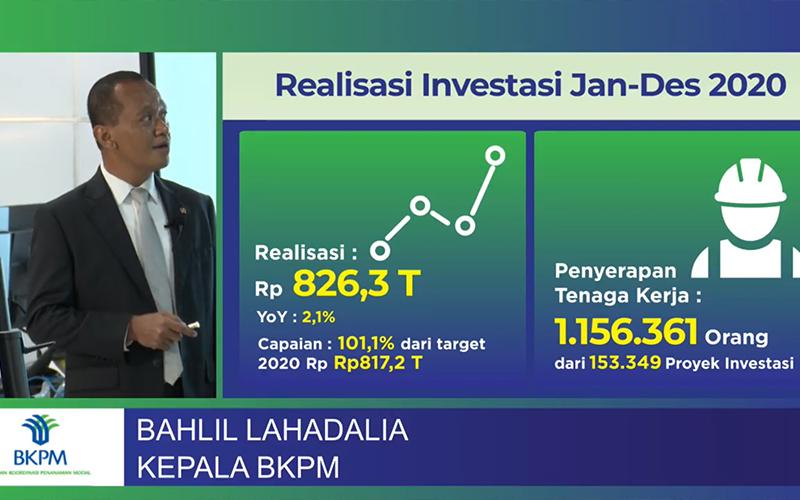 BKPM Sebut Kinerja Investasi 2020 Masih Positif