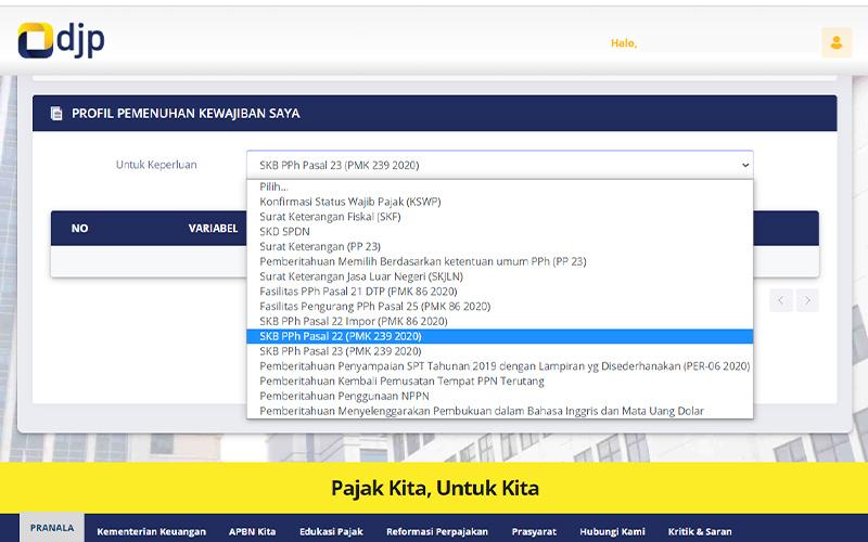 Aplikasi Pengajuan Pembebasan PPh PMK 239/2020 Sudah Ada di DJP Online
