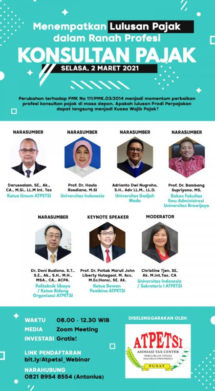 Bahas Soal Lulusan Pajak dan Profesi Konsultan, Atpetsi Gelar Webinar