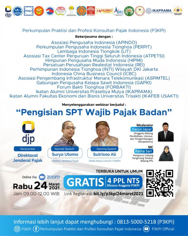 Gratis, P3KPI Gelar Webinar Pengisian SPT Wajib Pajak Badan