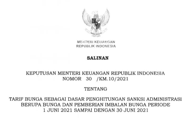 Ini Perincian Tarif Bunga Sanksi Administrasi Pajak Juni 2021