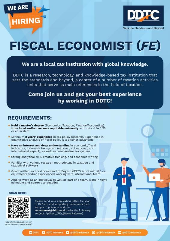 DDTC Buka Lowongan Posisi Fiscal Economist, Tertarik?