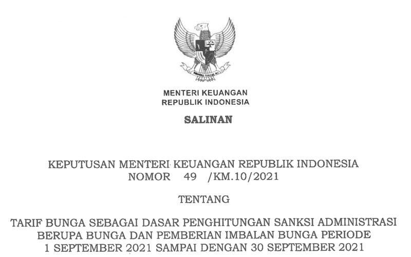 KMK Baru! Tarif Bunga Sanksi Administrasi Pajak September 2021
